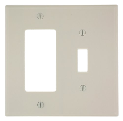 Leviton 80605-T 2-Gang 1-Toggle 1-Decora/GFCI Device Combination Wallplate, Midway Size, Thermoset, Device Mount, Light Almond