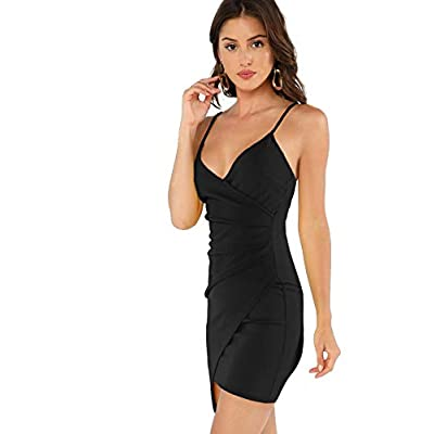 Verdusa Women's Sexy Ruched Side Asymmetrical V Neck Bodycon Cami Dress: Clothing