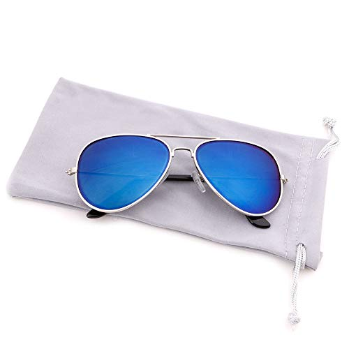 Creamily Kids Aviator Sunglasses UV Protection Glasses Mirrored Lens Eyewear Age 2-9 Boys Girls Outdoor Daily Wear ()