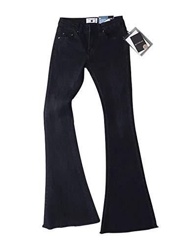 1adcc32d6d3b De Letuwj Verano Mezclilla Pantalones Vintage Mujer Negro zq8RZg