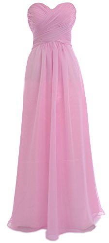 MACloth Women Strapless Chiffon Sequin Long Prom Dress Wedding Party Formal Gown Rosa