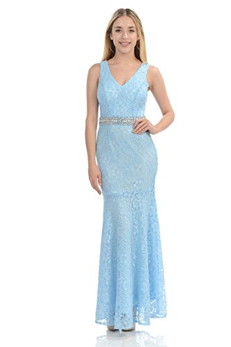 TwinMod V-Neck Floral Lace Mermaid Sleeveless Prom Bridesmaid Formal Dress (LARGE, BLUE)