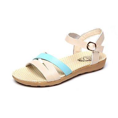 Sandalias Verano Mary Jane Polipiel Outdoor Dress Casual tacón bajo la hebilla caminando Light Blue