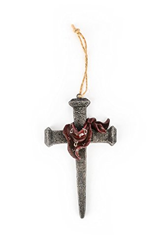 Mardel Railroad Spike with Kerchief Hanging Mini Cross, Iron Gray, 3 1/2 x 5 1/2 inches