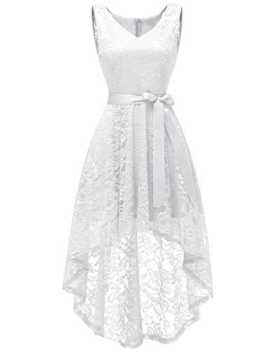 Blanco Berylove V Vestido Elegante Mujer Escote Corto largo Encaje Fiesta POzPaw