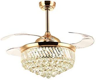 Dimmable LED Ceiling Fans with Lights Retractable Blades Invisible Crystal Chandelier Fans Gold 36