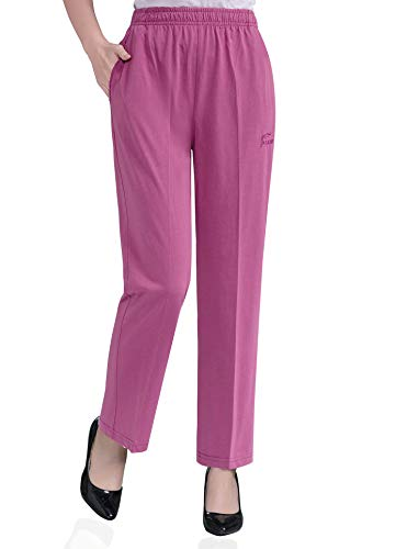 (Soojun Womens Stretch Knit Pants Pull On Pants with Elastic Waist, 2 Mulberry, 14 Petite)