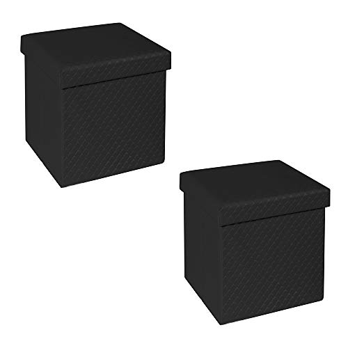 Seville Classics Black Faux Leather Quilted Foldable Storage Ottoman (Set of 2)