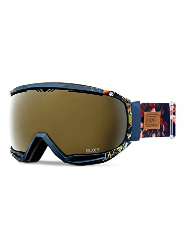 Roxy Women's Hubble Snow Goggles, Peacoat/Waterleaf, One Size (Roxy Protection Sunglasses Uv)