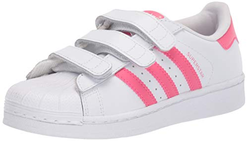 adidas Originals Kid's Superstar Shoe, White/Real Pink/Real Pink, 2 Medium US Little Kid