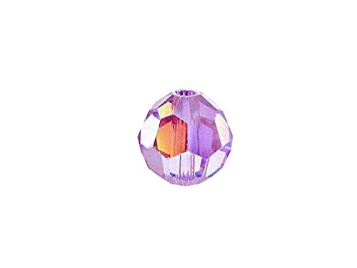 - Swarovski 5000 Round Crystal Faceted Beads Violet AB | 4mm | Small & Wholesale Packs | Pack of 36