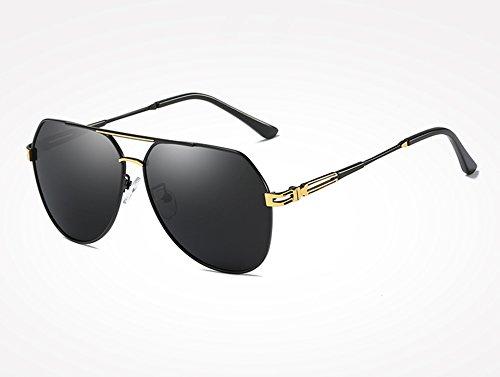 de de black Gafas Hombres Sunglasses TL Masculinos Sol Sol Gafas polarizadas de gray Accesorios Gafas Frías Negro de Vintage gold Sombras Gris Oro wXYZXRq