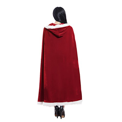 Clobeau Christmas Halloween Costumes Cloak Mrs. Claus Santa Xmas Velvet Hooded Cape Robe - http://coolthings.us