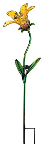 Regal Art and Gift 10839 Solar Tiger Lily, Yellow Garden Stake