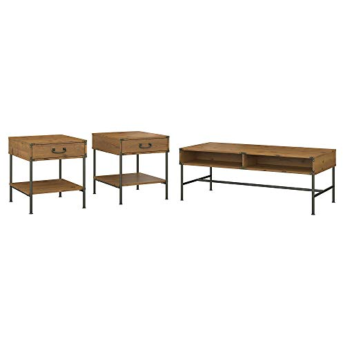 kathy ireland Home by Bush Furniture Ironworks Coffee Table and Set of 2 End Tables in Vintage Golden Pine