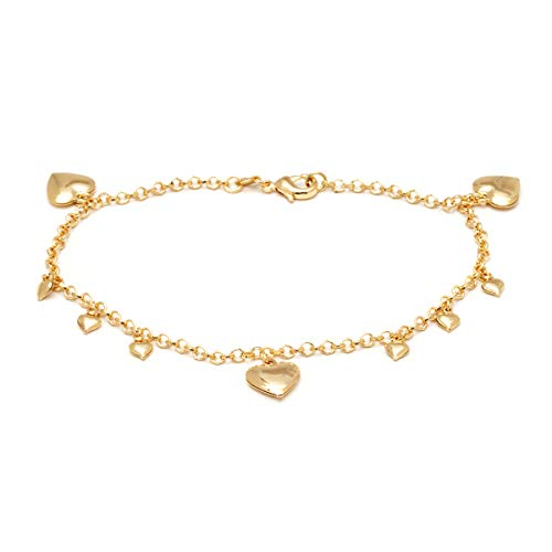 (Barzel 18K Gold Plated Rolling Link with Heart Charms Anklet)