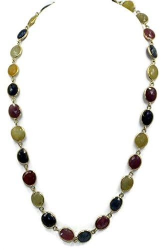 Double Side Multicolor Sapphire Necklace,14k Yellow Gold Heavy Lobster Lock