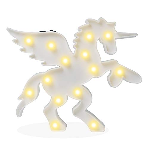 Pooqla Plastic Pegasus Unicorn with Wings Night Light Animal Shape LED Marquee Sign, Indoor Decorative Lighting for Kids Children Bedroom, LED Table Lamps Mood Lighting - White - Pegasus Light Fixtures