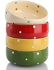 AVLA 4 Pack Ceramic Cereal Bowl, 16 Ounce Porcelain Soup Bowl Set, 5.5 Inch Ceramic Bowls for Dessert, Yogurt, Nuts, Ice Cream, Dipping Sauce Bowl ( Polka Dot, Assorted Colors )