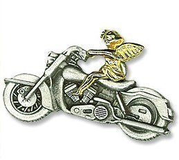 Gold and Silver Two-Tone Guardian Angel Hog Biker Pin, 1 1/2 Inch