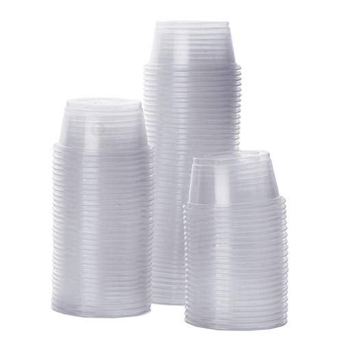 "- SunGrow Gecko Food and Water Containers (100 pcs) - Transparent, Plastic 0.5 oz Capacity Dishes - Reusable, Recyclable and Disposable Cups - 1.6"" Diameter and 0.6"" Depth Fits Various Reptile Feeders"