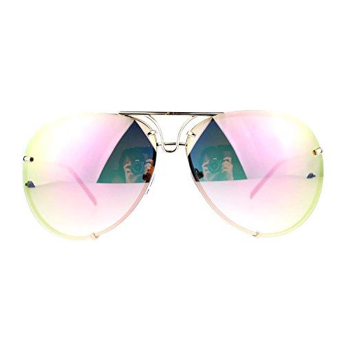 SA106 Rimless Retro Vintage Style Oversize Mirror Lens Pilot Sunglasses Pink ()