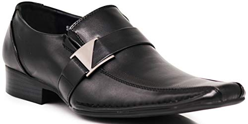 (Enzo Romeo Stone Men's Dress Loafers Elastic Slip on with Buckle Fashion Shoes Runs Half Size Big (8.5 D(M) US, Black))