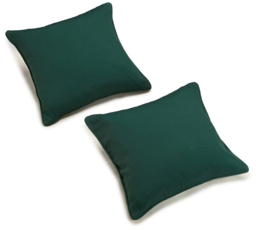 (Blazing Needles Twill 18-Inch by 18-Inch by 5-1/2-Inch Throw Pillow, Forest Green, Set of 2)