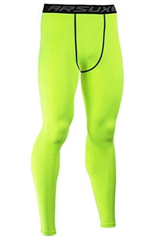 sandbank Men's Compression Tights Base Layer Sport Running Fitness Long Pants (US M = Asian Tag XL, Green) ()