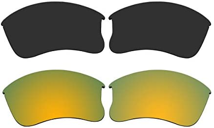 bd2a488322 Amazon.com  ACOMPATIBLE Replacement Polarized Black and Gold Lenses for Oakley  Flak Jacket XLJ  Sports   Outdoors