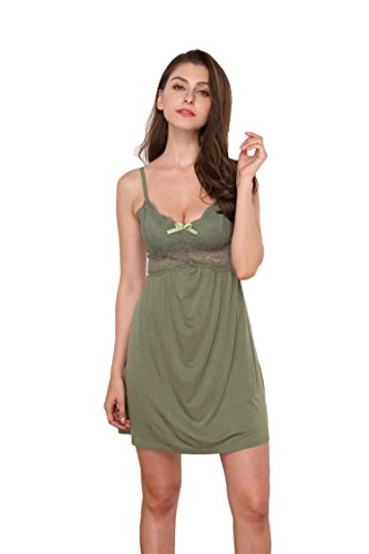 Memory baby Women Lingerie Lace Babydoll Chemises V Neck Nightwear Cotton Sleepwear Slips Green XL -