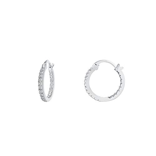 Sterling Design Earrings Silver - PAVOI 14K Gold Plated 925 Sterling Silver Post Cubic Zirconia Hoop Earrings | Small White Gold Hoops