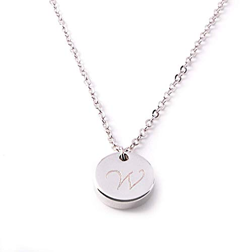 Personalize Initial Disc Necklace Best Graduation Day gift Thic coin Dainty Personalized thick Gold, Silver Rose Gold Circle Pendant Delicate Initial Disc Charms Necklace Machine Engraving