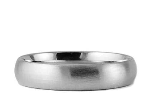 18k White Gold Brushed 5mm COMFORT FIT WEDDING BAND size 12.75 (Mens 18 Carat White Gold Wedding Rings)