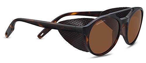 Serengeti Leandro Glacier Sunglasses Satin Tortoise Frame/Satin Dark Gunmetal, - Sunglasses Aviator Serengeti
