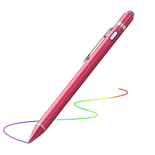 - Active Stylus for iPad, Evach Capacitive Rechargeable Pen with 1.5mm Ultra Fine Tip, Touchscreen Pencil Control-Like for Apple Pen and iPhone Stylus,Samsung Pen for Tablets (Rose Red)