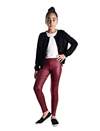 Girls Shiny Metallic Color Elastic Leggings