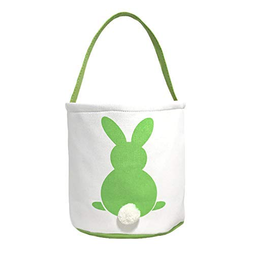 MONOBLANKS Easter Bunny Basket Bags for Kids Canvas Cotton Carrying Gift and Eggs Hunt Bag,Fluffy Tails Printed Rabbit Canvas Toys Bucket Tote (Green)