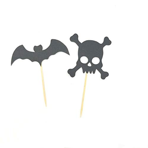 Halloween Cemetery Bat Cupcake Toppers Person Cranial Head Cutouts Cupcake Toppers ()