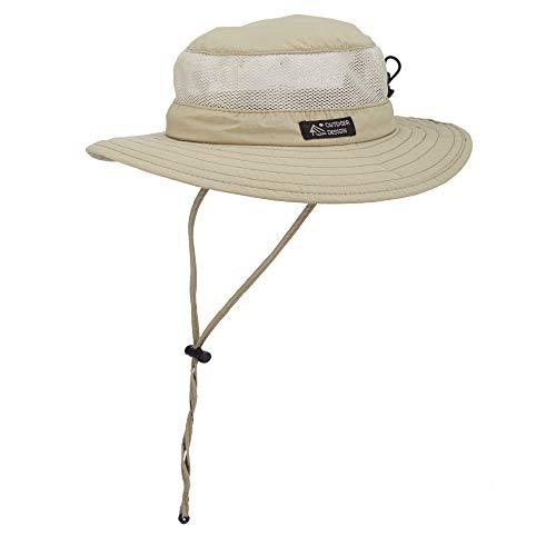 Dorfman Pacific Men's Bonnie Mesh Sides Hat, Khaki, Medium ()