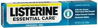Listerine Essential Care Fluoride Anticavity Toothpaste Gel, 4.2 Ounce, (Pack of 3)