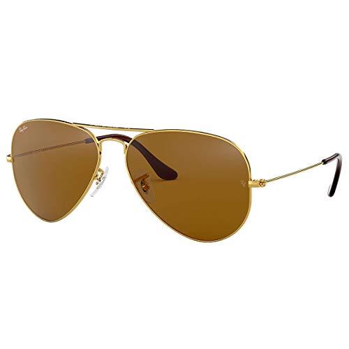 Ray-Ban Aviator Large Metal Sunglasses,55mm,Gold/Brown ()