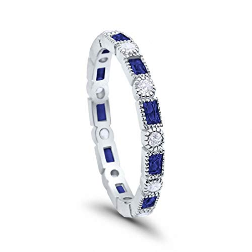 - 3mm Art Deco Full Eternity Wedding Band Baguette Simulated Blue Sapphire Round Cubic Zirconia 925 Sterling Silver, Size-8