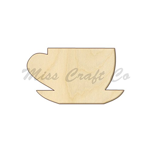 Tea Cup Wood Shape Cutout, Wood Craft Shape, Unfinished Wood, DIY Project. All Sizes Available, Small to Big. Made in the USA. 9 X 5.1 INCHES ()