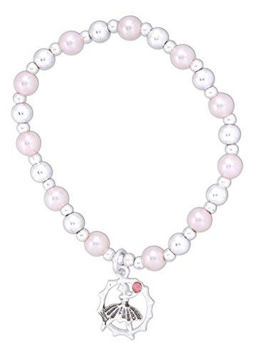 Periwinkle by Barlow Little Love Pink Beaded Girls Stretch Charm Bracelet (Ballerina)