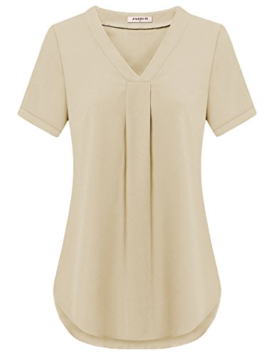 Jazzco Blouse Shirts Tops, Womens Casual Solid Color Pleated V Neck Short Sleeve Elegant Tunics(Beige,Medium) (Silk Blouse Tunic)