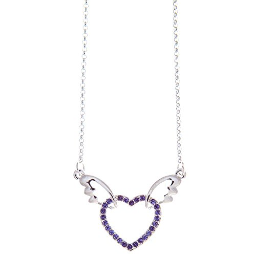 Matashi Rhodium Plated Necklace with Winged Heart Design with a 16