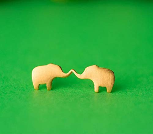 Extra Tiny Elephant Earrings solid gold studs yellow white rose 0.0010