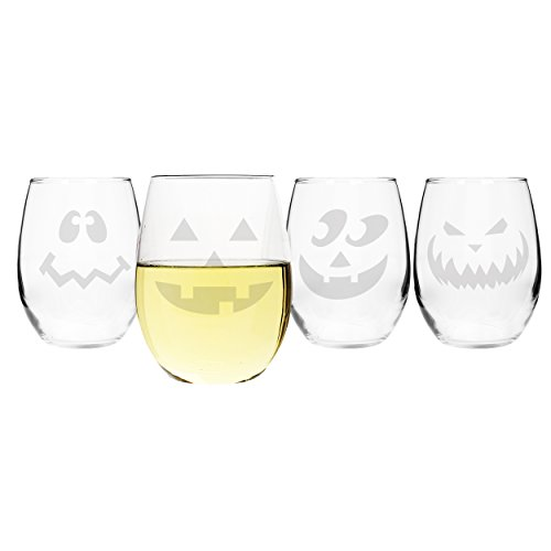 Cathy's Concepts Jack-O-Lantern Stemless Wine Glasses, Set of ()