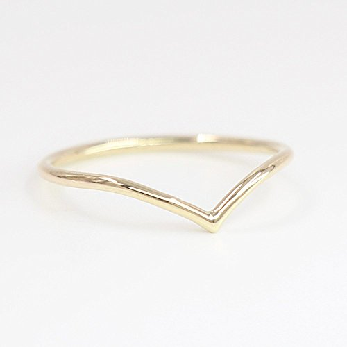 Chevron Ring, 14k Solid Gold, Chevron Dainty Gold Ring, Rose White Yellow Gold Chevron Ring, Midi Ring, Thin Ring - 14k Gold Chevron